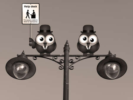inability: Sepia comical Help Desk sign with birds perched on a lamppost
