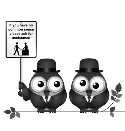 roost: Comical common sense sign with birds perched on a branch isolated on white background Illustration