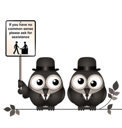 in common: Retro comical common sense sign with birds perched on a branch isolated on white background