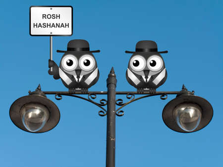 rabi: Rosh Hashanah Jewish New Year with Rabi birds perched on a lamppost against a clear blue sky Stock Photo