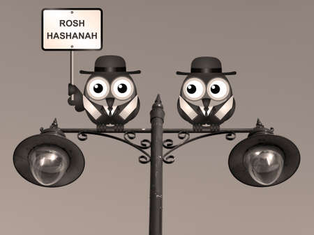 rabi: Sepia Rosh Hashanah Jewish New Year with Rabi birds perched on a lamppost