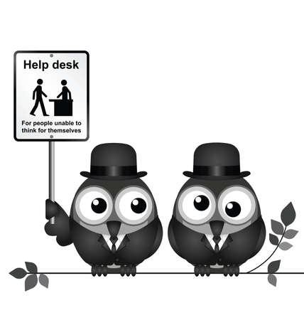 roost: Monochrome comical help desk sign for people unable to think for themselves with bird businessmen perched on a branch isolated on white background
