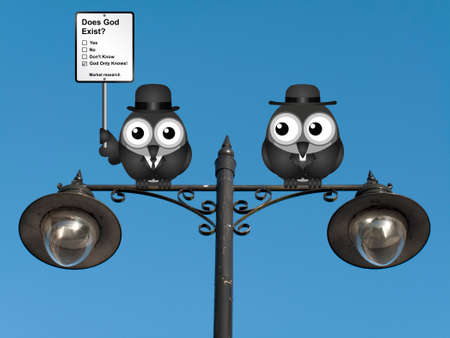 theological: Comical market research does God exist sign with birds perched on a lamppost against a clear blue sky