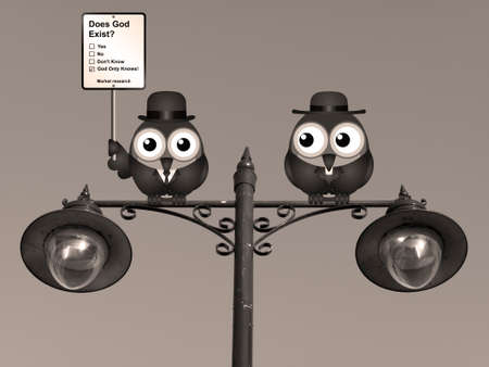 clergy: Sepia comical market research does God exist sign with birds perched on a lamppost Stock Photo