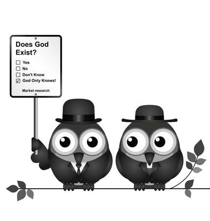 preacher: Monochrome comical Market Research with does God exist sign with bird vicar perched on a branch isolated on white background Illustration