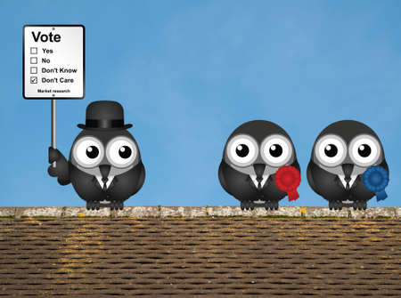 electioneering: Comical market research voting intention sign with bird left wing and right wing politicians perched on a rooftop against a clear blue sky