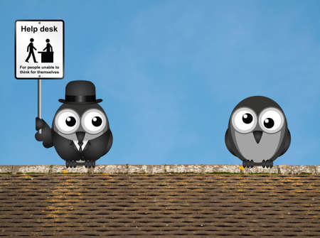 Comical Help Desk sign with birds perched on a rooftop against a clear blue sky