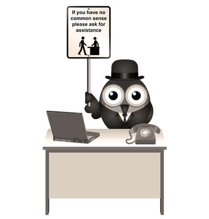 unintelligent: Sepia comical common sense sign with bird helper sat at his desk Stock Photo