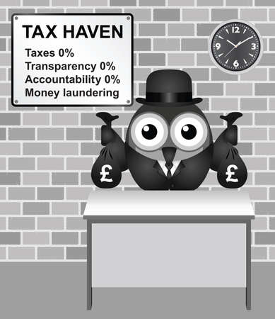 secrecy: Bird businessman holding bags of money deposited in a tax haven paying no tax and shrouded in secrecy UK version Illustration