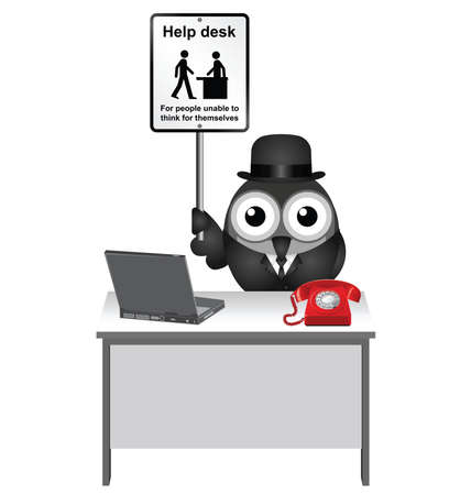 aide: Comical Help Desk sign with bird helper sat at his desk