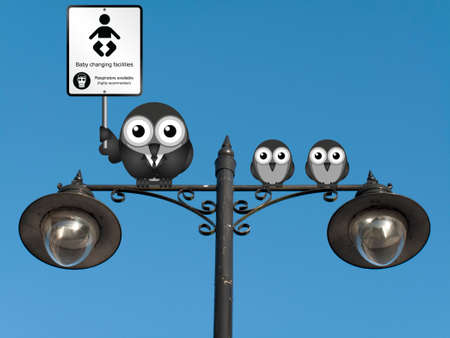 changing: Comical baby changing facilities sign with parent and young birds perched on a lamppost against a clear blue sky Stock Photo