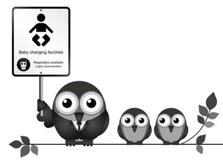Comical baby changing facilities sign with parent and young birds perched on a branch isolated on white background Illustration