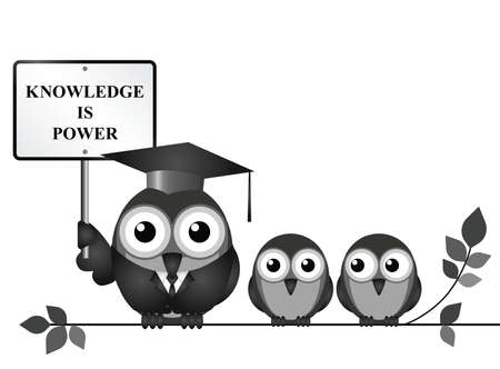 roost: Knowledge is power sign with bird teacher and students perched on a branch isolated on white background with copy space for own text