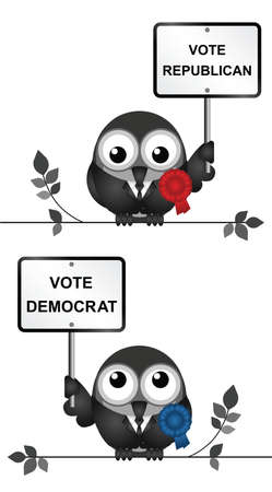 polling: Comical Democrat and Republican bird politicians vying for votes perched on a branch isolated on white background