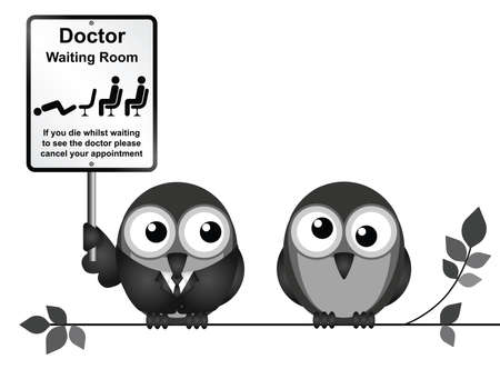 nhs: Two birds holding signboard Illustration