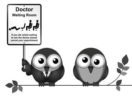 nhs: Two birds holding signboard Illustration