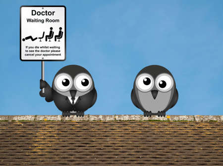 nhs: Comical doctor waiting room sign with doctor and patient birds perched on a rooftop against a clear blue sky