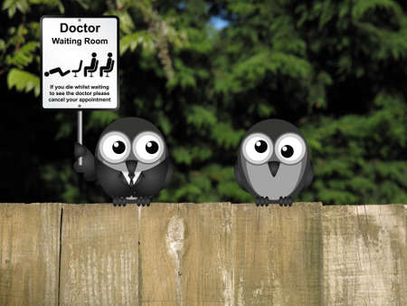 nhs: Comical doctor waiting room sign with doctor and patient birds perched on a wooden fence Stock Photo