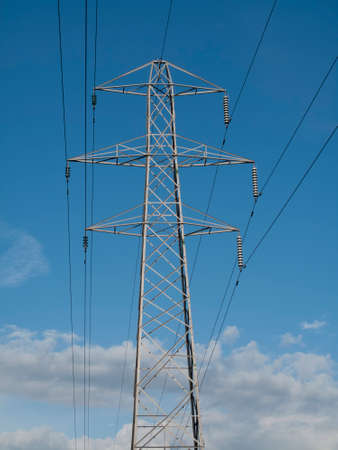electricity supply: Electricity supply pylon and cables set against a blue sky