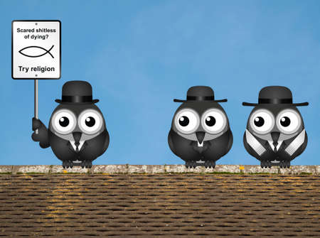 Comical scared of life try religion sign with bird atheist and bird vicar and Rabbi perched on a rooftop against a clear blue sky Stock Photo