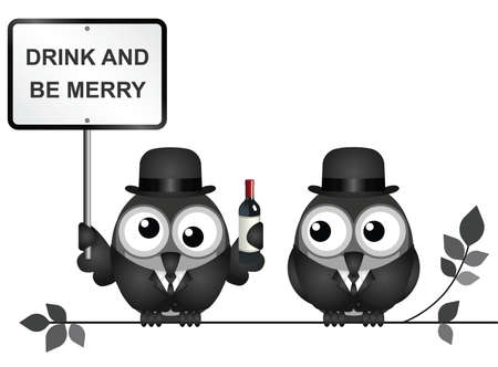 inebriated: Two birds holding a signboard standing on a string