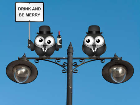 inebriated: Drunk bird with drink and be merry sign perched on a lamppost against a clear blue sky