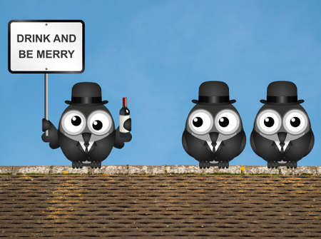 inebriated: Drunk bird with drink and be merry sign perched on a rooftop against a clear blue sky