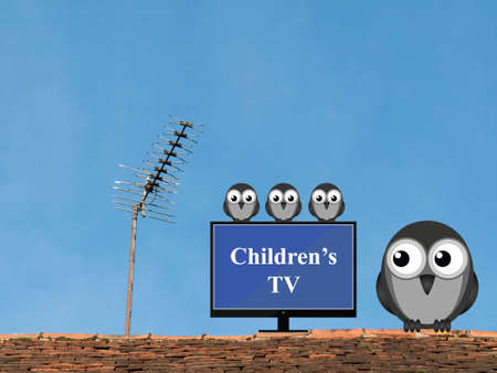 programmes: Comical bird family settling down to watch children television programmes Stock Photo