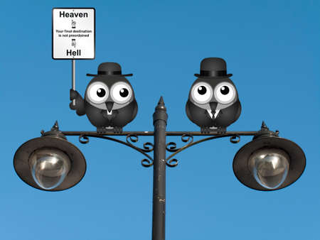 clergy: Bird vicar with destination heaven or hell sign and worried businessman perched on a lamppost against a clear blue sky