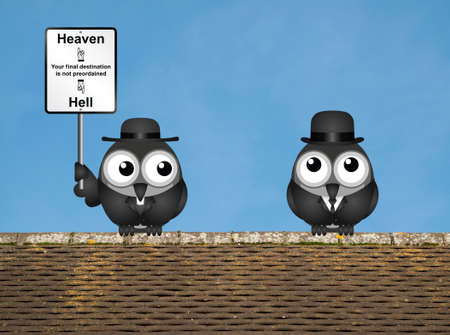 cleric: Bird vicar with destination heaven or hell sign and worried businessman perched on a rooftop against a clear blue sky