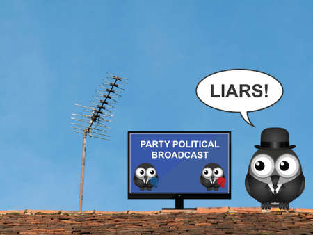 electioneering: Comical bird shouting liars at a party political broadcast on the television perched on a rooftop against a clear blue sky Stock Photo