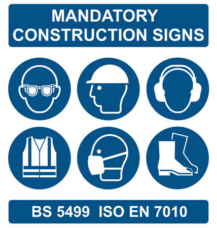 Mandatory construction manufacturing and engineering health and safety signs to current British Standards isolated on white background