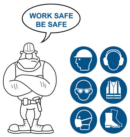 standards: Mandatory construction manufacturing and engineering health and safety signs to current British Standards with work safe be safe message isolated on white background