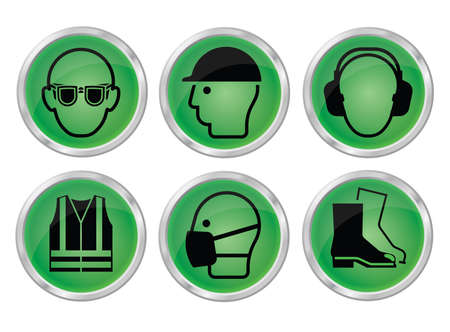 safety goggles: Mandatory construction manufacturing and engineering health and safety green shiny icon set to current British Standards isolated on white background