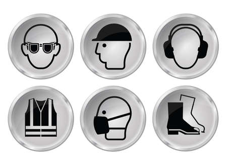 high visibility: Mandatory construction manufacturing and engineering health and safety grey shiny icon set to current British Standards isolated on white background