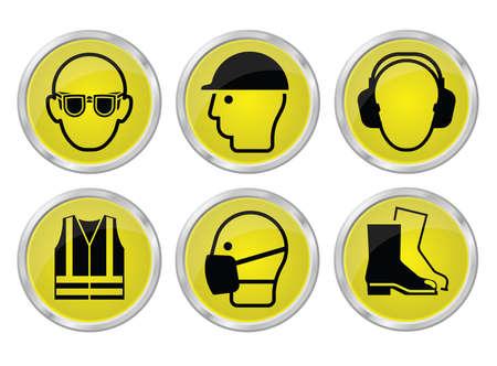 Obbligatoria la produzione edilizia e la salute e la sicurezza di ingegneria giallo lucido icona set alle normative vigenti britannici isolato su sfondo bianco