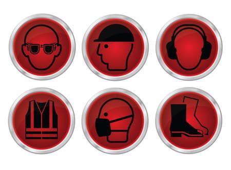 elementos de protección personal: fabricación obligatoria la construcción y la ingeniería de la salud y la seguridad icono de color rojo brillante se establece en las normas vigentes británico aislado en el fondo blanco