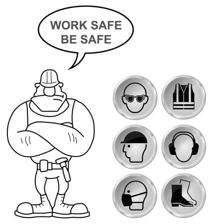 mandatory: Mandatory construction manufacturing and engineering health and safety shiny grey icons to current British Standards with work safe be safe message isolated on white background