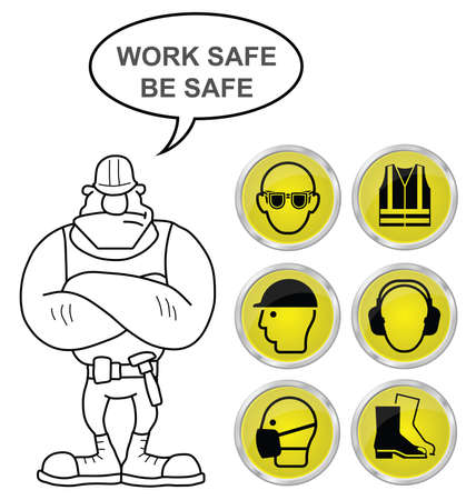 Mandatory construction manufacturing and engineering health and safety shiny Yellow icons to current British Standards with work safe be safe message isolated on white background