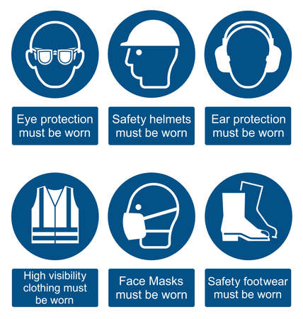 ear protection: Mandatory construction manufacturing and engineering health and safety signs to current British Standards isolated on white background