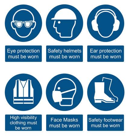 Obbligatoria di produzione di costruzione e di ingegneria di salute e di sicurezza per gli attuali standard britannici isolato su sfondo bianco