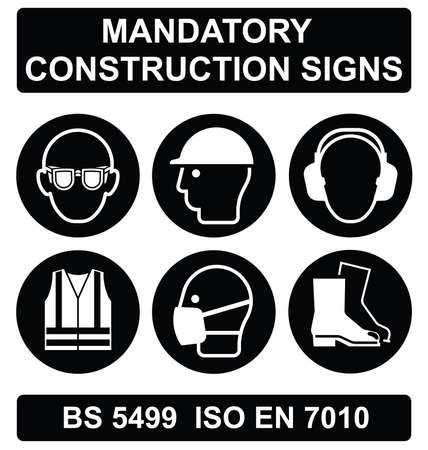 standards: Black mandatory construction manufacturing and engineering health and safety signs to current British Standards isolated on white background