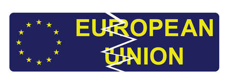 European Union broken sign