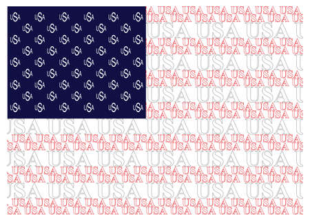 constructed: United States of America flag constructed from USA text isolated on white background Illustration