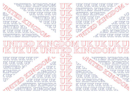 constructed: United Kingdom flag constructed from UK text isolated on white background