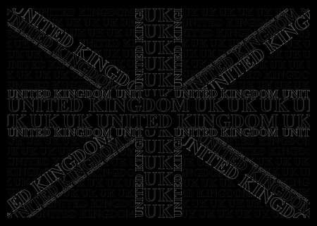 Monochrome United Kingdom flag constructed from UK text isolated on black background