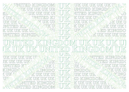constructed: Green United Kingdom flag constructed from UK text representing environmental issues isolated on white background