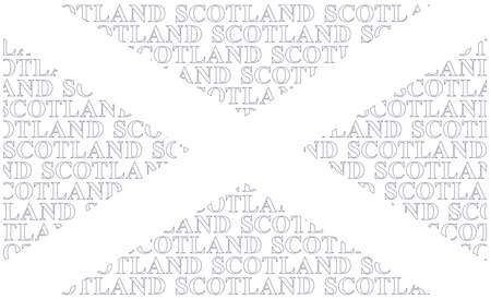 Scotland flag constructed using text forming Saint Andrews Cross adopted in the fifthteenth century isolated on white background Illusztráció