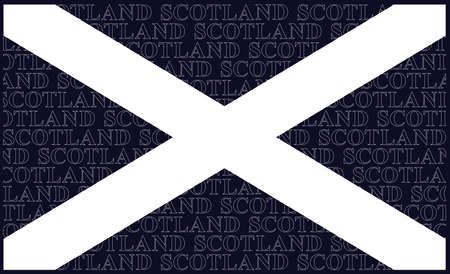Scottish Saltire national flag with Saint Andrews Cross adopted in the fifthteenth century with white Scotland text on the blue background