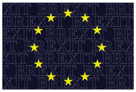 britannia: The European Union flag overlaid with Brexit text relating to the United Kingdom referendum result to leave the EU isolated on white background